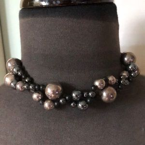 Sterling Silver Hematite & Black Bead Necklace